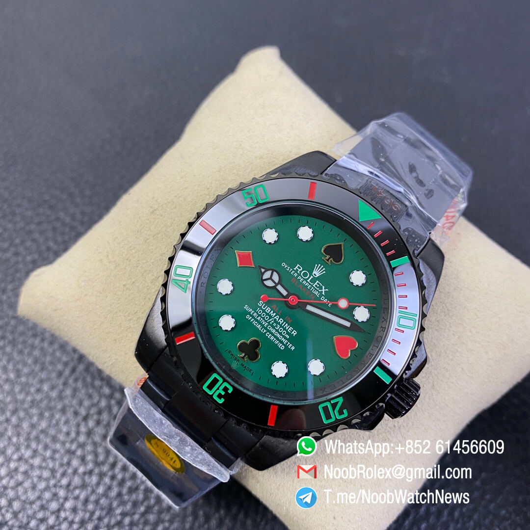 Black All In Blaken Submariner Poker Limited Edition 40mm Dlc Black Case 904l Matel Green Dial With Poker Indexs A2836 Noob Top Clone Noob Watch The Best Swiss Replica Watches