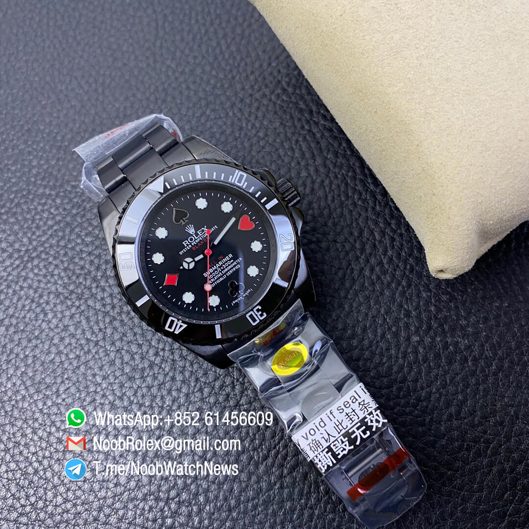 Blaken Submariner Poker Dial 40mm All In Dlc Black Case 904l Matel Black Bezel Dial With Poker Indexs A2836 Noob Top Replica Noob Watch The Best Swiss Replica Watches
